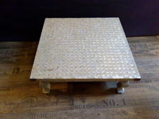 Coffee table completely covered in mother-of-pearl - India - mid-20th century