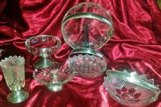 Lot of 6pcs of crystal with silver feet and brackets -the Netherlands - 1870-1920
