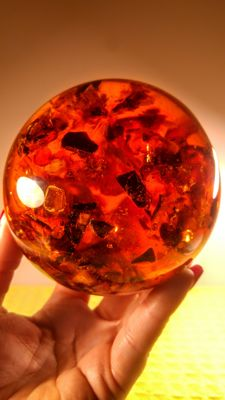 Beautiful Composite Baltic amber Ball, Sphere - 580 gm