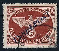 German field post - 1944 - registration stamp with Agramer overprint rouletted, Michel 10 Bb checked Müller BPP