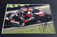 Framed photo, authentic and personally hand signed by Max Biaggi