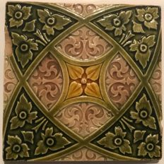 Art Nouveau tile with stylised decor