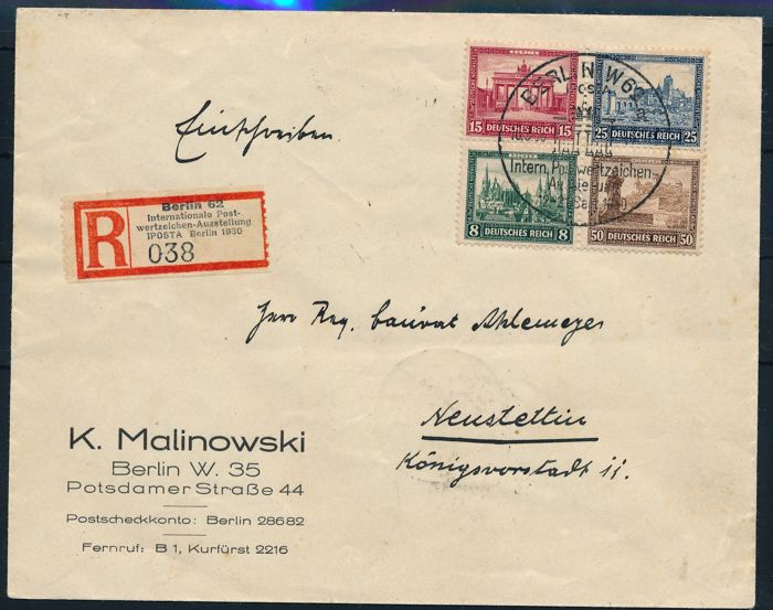 "German Empire 1930 - ""block stamps from ""IPOSTA block"" - Michel block 1 on registered letter"