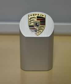 Porsche lot pylon + enamel coat of arms/paperweight + glasses + tabletop clock/alarm + beauty case + business card holder
