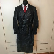 Post WW2 Heavy German Long Double Breasted Leather Coat