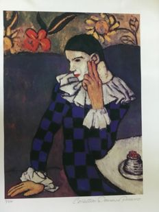 Pablo Picasso (after) - Harlequin leaning on his elbow