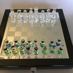 Chess set with hand cut pieces of crystal