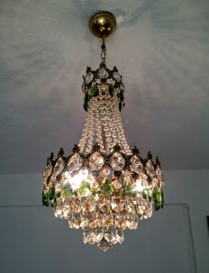 A brass and green crystal chandelier, 1970s