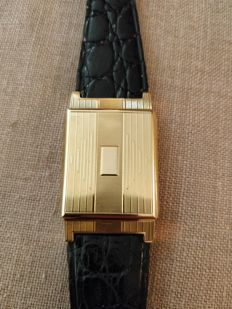 Rare 18 kt Gold Tavannes Belt Buckle Watch which opens to desk clock