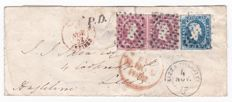 Sardinia, 1851 - Light azure 20 Cent and pair of pink 40 Cent stamps on an envelope from Nice to Leeds - Sassone No. 2f and 3