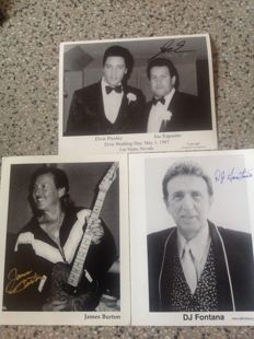 Elvis Presley / James Burton guitarist signature and DJ Fontana  drummer signature and Joe Esposito manager Elvis Presley signature