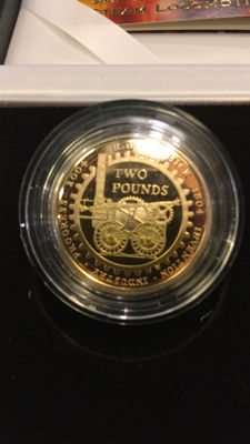 United Kingdom - 2 Pounds 2004 'First Steam Locomotive' - gold