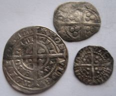United Kingdom - ½ Penny and Penny (Reading) + ½ Groat (York) Edward III 1327-1377 (3 coins) - silver