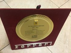 Ferrari plate with brass-plated plaque for the Ferrari 70-year anniversary with metal badge with inscription FERRARI