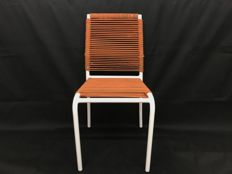 Typical Metal Bar Chair, 1970s Vintage, with elastic cord seat
