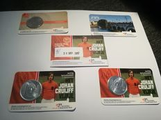 The Netherlands - Lot of 5 coin cards 2016/2017 '5 euro Johan Cruijff (2 x UNC, 1 x FDC), 2 euro Saint Servatius Bridge, Uniedaalder'