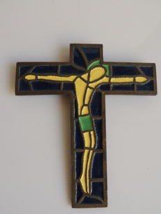 Bronze Christian cross - Enamelled stained glass decor - France - Circa 1950