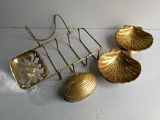 4-Old Brass bath accessories; art nouveau SOAP/sponge bath (bracket) holder, 2 shell-shaped soap dishes and shell-shaped (mussles) trinkets box (hinged)
