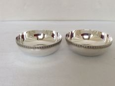 Two round serving trays, Christofle France 1990