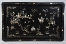 Chinese hardwood tray with mother-of-pearl inlay - China - 19th century