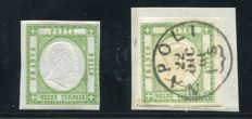 Naples 1861 - two half tornese green stamps, one of which is on a fragment - Sassone no. 17