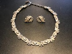 very rare crown Trifari paste diamond necklace and earrings set fully signed