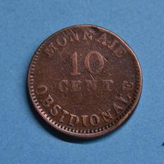 French period of Belgium, Antwerp - Emergency coin of 10 Centimes 1814 Emission Lodewijk 14 'Studio Wolschot'
