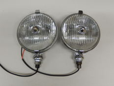 A Pair of Chrome 1950's Lucas Matching SFT 576 Fog lights in Good Used Vintage Condition