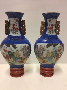 Pair of porcelain vases - China - mid 20th century