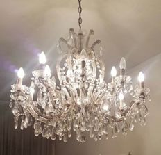 Chandelier with crystal glass pendants - Italy, 1950's