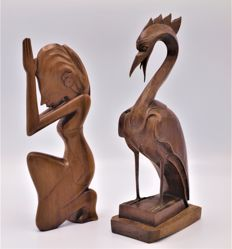 Two Art Deco style wooden sculptures - Bali - Indonesia - mid 20th century