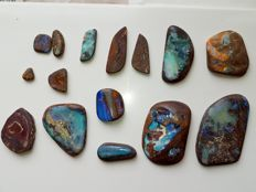 Large Lot Fine Electric Blue Green Flash colors - Untreated 100% Natural Australian Boulder/Koroit Opal rub Cab - 921 ct