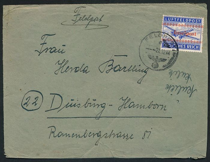 "German Reich field post - 1944 - ""approval stamp for the island of Crete"", perforate - Michel 7A"