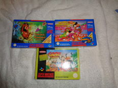 3 super nintendo boxed games like, Timon & Pumba +  Goof Troop +  The great circus mystery