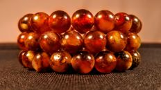 Set of 3 modified Baltic Amber Bracelets, hole ca. 56 mm, 40 grams