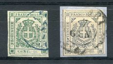 Modena 1859 - 5 cent.  green and 20 cent. slate-grey/violet - Sassone No.  12 and 15