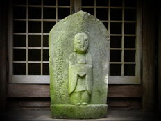 Japanese  garden / roadsign stone statue of Jizo protector of children- travellers and many more -  19th century (late Edo period)