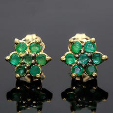 0.51 ct Emerald in 14K Gold stud Earrings - 8.5 x 8.6 mm