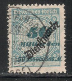 German Empire 1923 - small lot of official stamps with snake overprint, tested Infla, Michel no. D 84 block of four, D 85, D 88