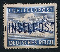 """Field post - 1945 - """"Leros Island"""" hand stamped overprint on perforated airmail postal stamp, Michel 11 Ba, proofed Müller BPP"""