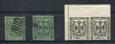 Modena 1853 - Lot of 3 stamps - 5 cent. olive green (two stamps) - 1 lira white (pair with varieties) - Sass.  N°  8, 11