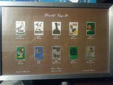 Framed Collection of Silver stamps Mondiali World Cup 1978