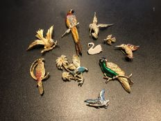 Collection of 9 large vintage some signed Sphinx enameled bird brooches, ca. 1940's