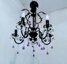 Brass Rococo 5 Lights Black Finished Purple Crystal Chandelier, 20th century