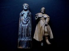 Lot of 2 antique wooden saints figurines - Antonius and Rochus - 18th/19th century