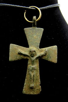 Bronze Crusaders Period - Templar - Cross Pendant with Jesus Christ - Free Necklace - 46x28 mm