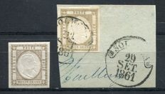 Naples 1861 - two specimens of 1/2 grana, bistre-brown, one on fragment - Sassone no. 18