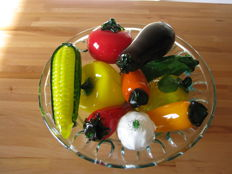 Glass bowl with vegetables - Italy, 1980s, coloured glass (10)