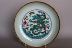 Exquisite plate with green dragon and gold edge marked - China - 21st century