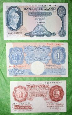 Great Britain - lot of 3 banknotes - 1948/1961